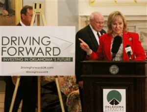"""Governor Mary Fallin announces the """"Driving Forward"""" plan at the state Capitol Thursday, Oct. 29. (Photo by Ryan Horton)"""