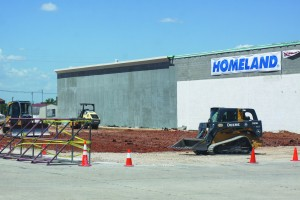 New business pad spaces are being built on the west side of Homeland. (Staff photo by Jon Watje)