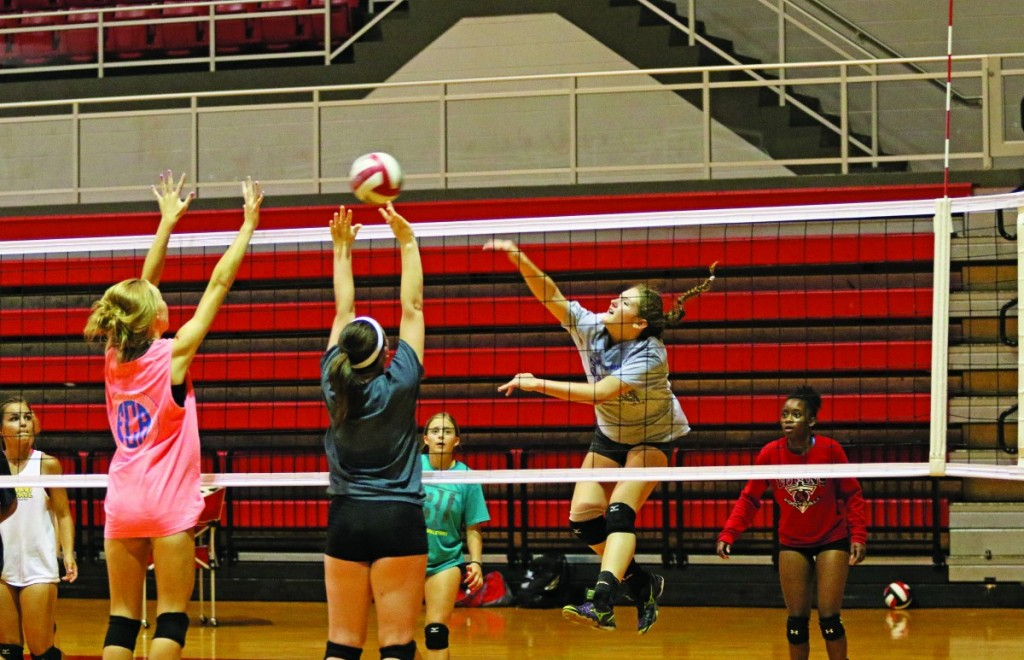 Sophomore Renee McBride-Rogers spikes the ball during a practice last week at Carl Albert High School. (Staff photo by Jeff Harrison)