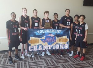 Members of the Oklahoma 17-Under Elite Team Griffin basketball squad pose with the championship banner of the Greater American Shoot Out Elite Tournament in Duncanville. From left, they are Caleb Nero of Tulsa Memorial, Brady Manek of Harrah, Dalton Vincent of Hennessey, Carson Maier of Shawnee, Adokyle Ayaye of Putnam City North, Ethan Chargois of Tulsa Union, Omar Boone of Casady and Mason Harrell of Carl Albert.