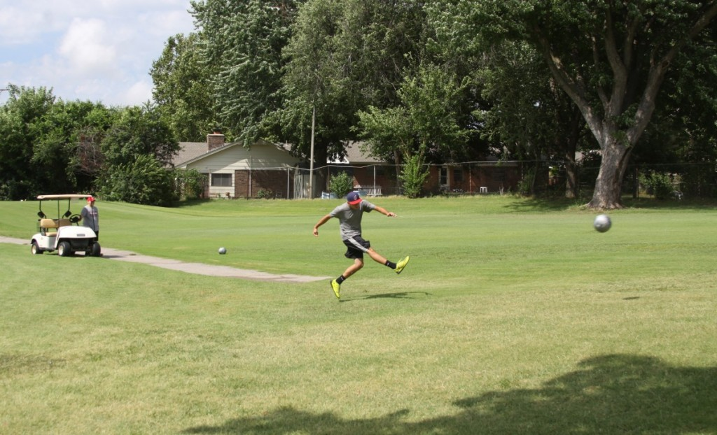 The City of Midwest City added a footgolf course at Hidden Creek Family Golf Course last year. The golf/soccer hybrid sports has been growing in popularity. (Photo by William Washington)