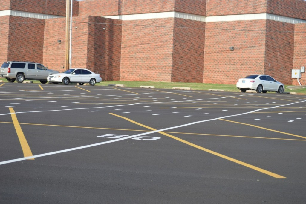 The parking lot at Mustang High School. The Mustang School District is facing the problem of not enough parking for students. (Staff photo by Traci Chapman)