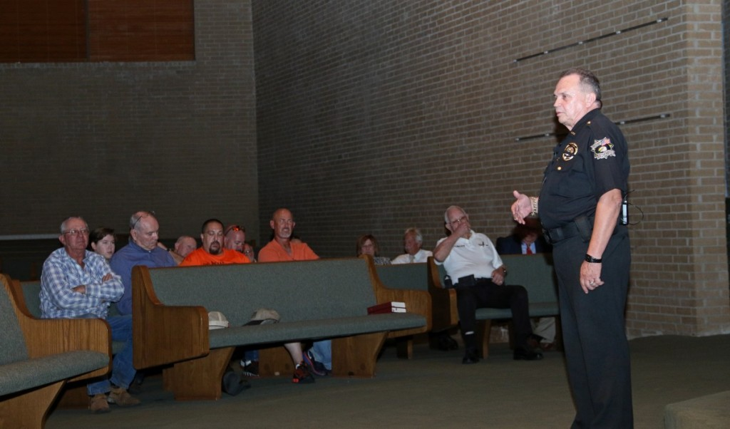 Oklahoma County Sheriff John Whetsel discusses ways that churches can improve safety of their parishioners Tuesday evening during a forum at Eastside Church of Christ. (Staff photo by Jeff Harrison)