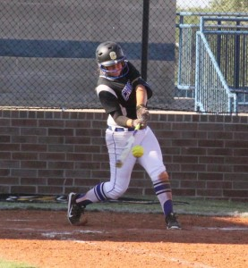 Jamie White connects during the home opener vs. Lawton Ike. CHS won, 11-1. (Photo by Ryan Horton)