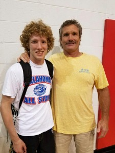 Benny Coleman celebrates 30 years of coaching, reaching 300 wins, and being named the Oklahoma Coaches Association 6A Oklahoma Coach of the Year and Region 8 Coach of the Year with All-State Wrestler Garrett Rowe who was named 6A Wrestler of the Year, and also was a 4-time state placer, 3-time state finalist and 2-time 6A State Champion for Choctaw High School.