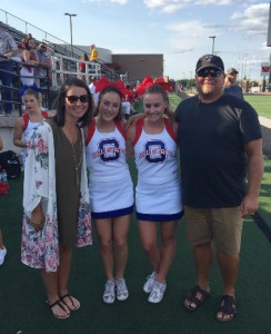 Coach Coulter and Dilbeck congratulate All-State Cheerleaders Holli Steele and Michaela Stevens.