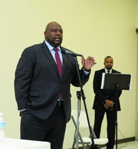 Chris Harrison speaks during a candidate forum Tuesday night in Spencer. Harrison will face Jason Lowe in a Democratic primary runoff for State House District 97 on Aug. 23. (Staff photo by Jeff Harrison)