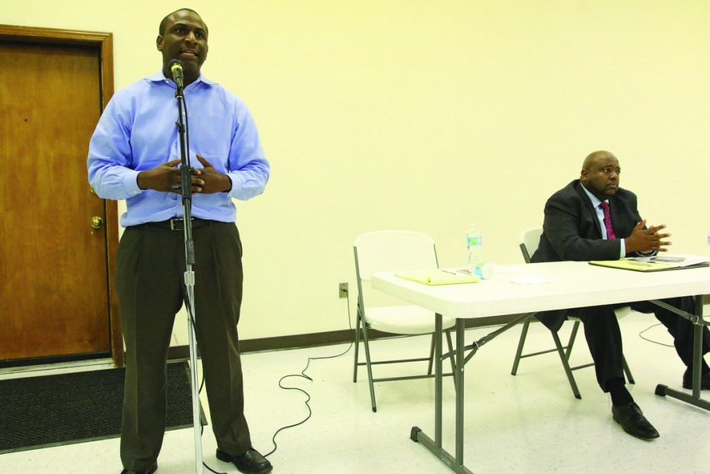 Jason Lowe (Left) and Chris Harrison (Right) answer questions during a Democratic candidate forum for State House District 97. The two will meet in a primary runoff on Aug. 23. The winner will face Republican Tonni Canaday in the general election on Nov. 8. (Staff photo by Jeff Harrison)