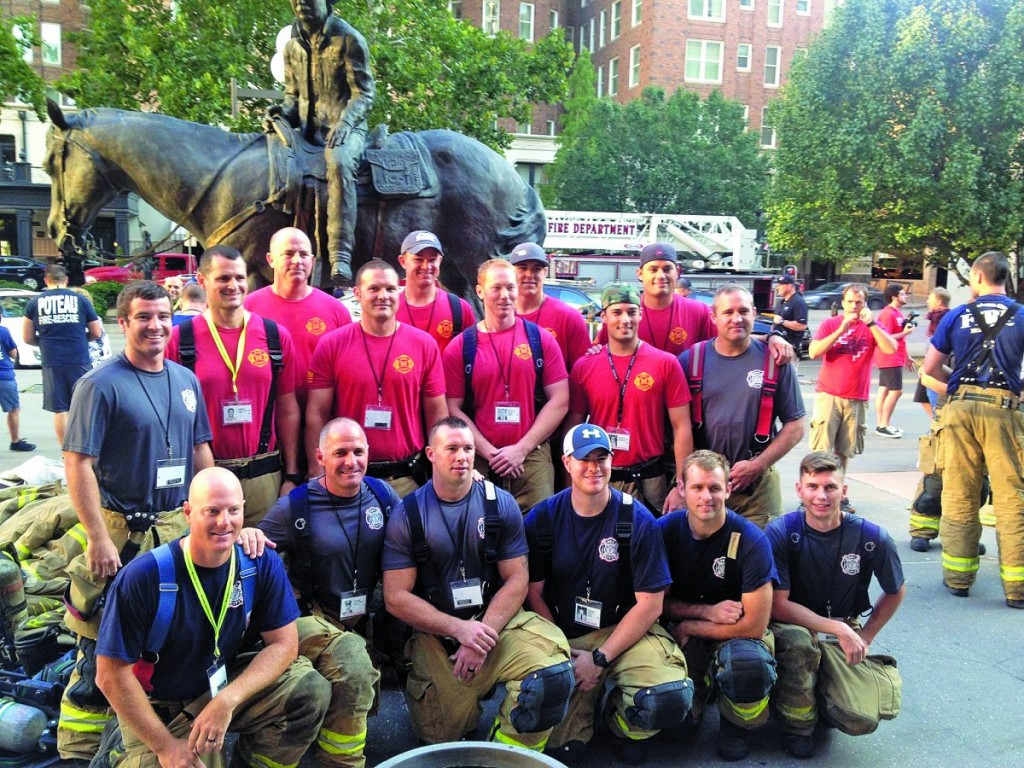 Members of the Midwest City and Del City fire departments participated in the Oklahoma City 9/11 Memorial Stair Climb last Saturday. Front row, from left, Darren Appleby, Brandon Pursell, Shawn Carter, Tyler Payne, Ashton Vernon, Adam Shelby. Back row: Greg Nelson, Chris Hudson, Doug Beabout, Casey McSparrin, Matt Mockabee, Tyler Nels, Eric Peach, Zac Foster and Caleb King. (Provided photo)