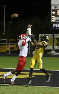 T'Aces Vick makes a leaping touchdown catch in the fourth quarter of Midwest City's 20-17 homecoming win against Lawton. (Staff photo by Jeff Harrison)
