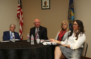 The Midwest City Chamber of Commerce hosted a candidate forum Tuesday morning for State House Districts 95 and 101. Pictured, from left, District 95 candidates Jim Cook, Roger Ford, and District 101 candidates Cheryl Mooneyham-Hessman and Tess Teague. (Staff photo by Jeff Harrison)
