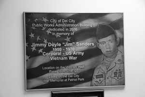 The City of Del City dedicated the new public works building in memory of Jimmy Doyle Sanders who died while serving in the Vietnam War.
