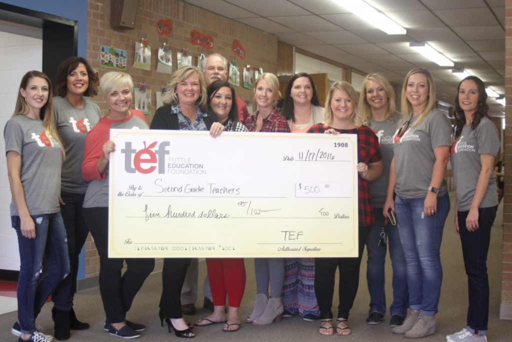 Tuttle Education Foundation board members are pictured in November with Tuttle Second Grade Teachers who were approved for a grant from the TEF.
