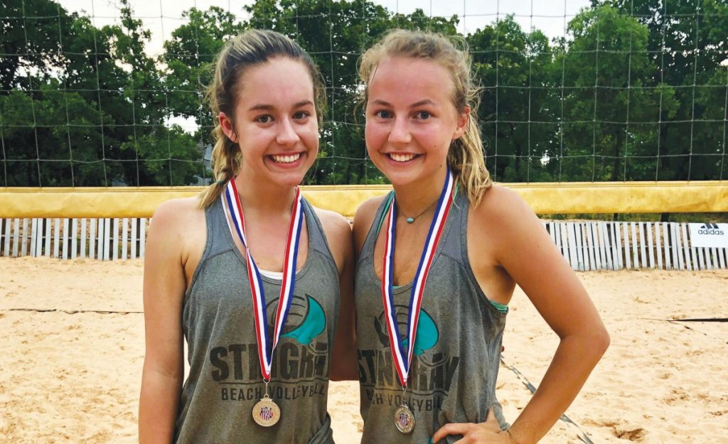 Chloe McPherson, of Norman, and and Carter Bohuslavicky, of Mustang, qualified for the AAU West Coast Junior Olympics in sand volleyball. (Provided photo)