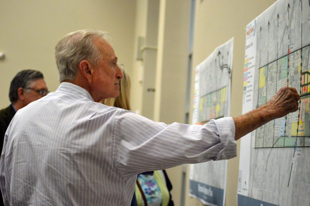 Robert Crout weighs in during a 2016 community comprehensive planning meeting held in the months leading up to the Imagine Mustang plan. Crout, 69, was integral to much of the city's development, officials say; he was killed last week in a July 17 automobile accident. (Staff photo by Traci Chapman)