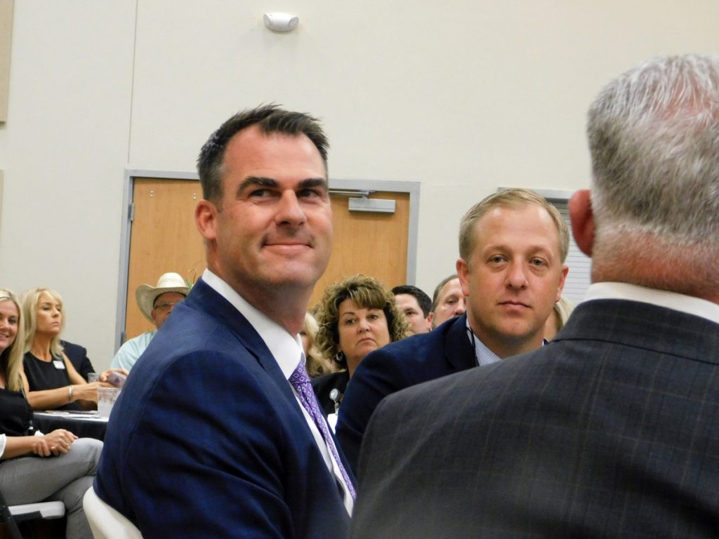 Gov. Kevin Stitt made a June 27 special appearance at Town Center during a joint luncheon hosted by Mustang, El Reno, Yukon and Piedmont chambers of commerce. The governor talked about his vision of making Oklahoma a top 10 state and praised local legislators for their work to make that vision a reality. (Staff photo by Traci Chapman)
