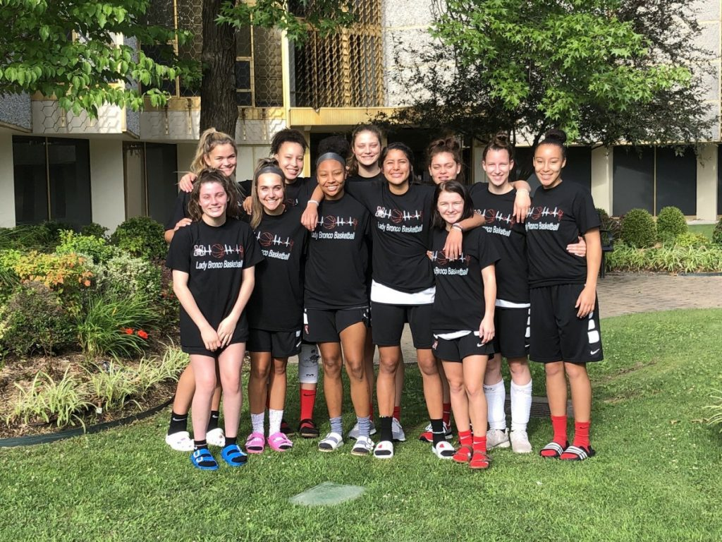 The Mustang High School girls basketball team has had a busy summer under new head coach Katie Bass. The Lady Broncos hosted a summer league, youth camp and participated in the Oral Roberts University team camp. (Provided photo)