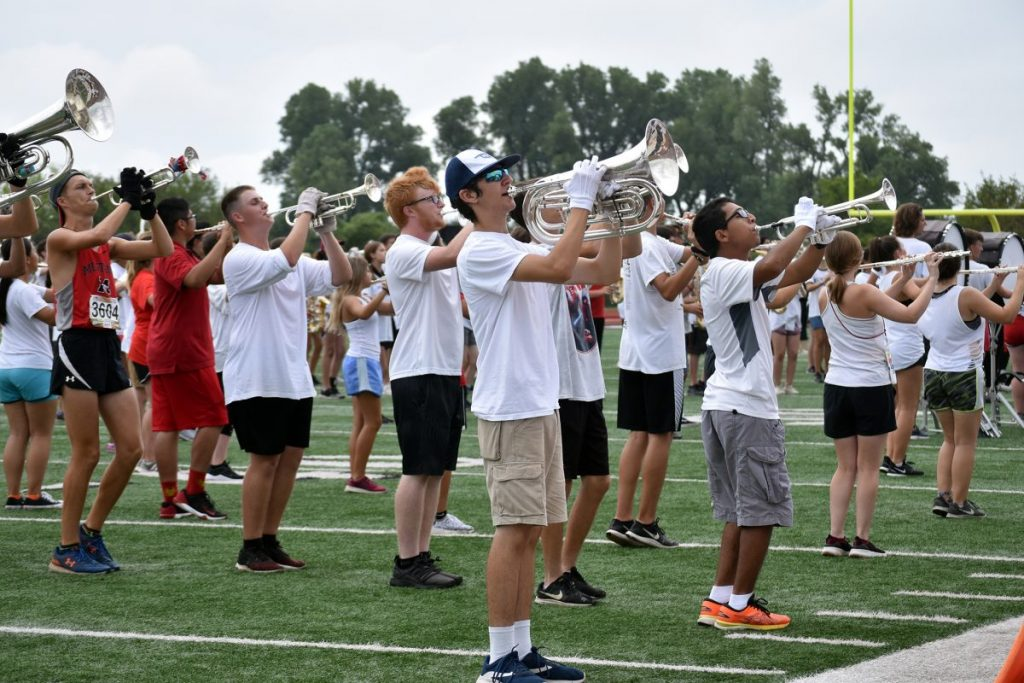 "Mustang High School's Nightriders marching band took to the field Saturday for its first performance of the season. Parents, friends and fellow students were the first to see the 2019 program, ""Rawr,"" which the band will first present in competition during the Sept. 28 Yukon Invitational. (Staff photo by Traci Chapman)"