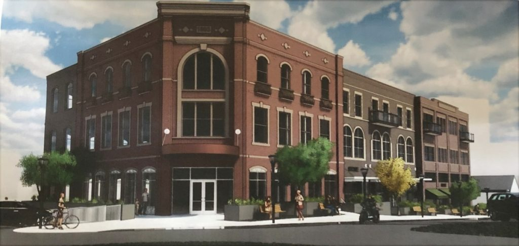 A rendering by Bockus Payne Architecture of what a proposed three-story building could look like at the southeast corner of Main and Gilbert Street if city officials believe the project is worth the cost of $5 million.