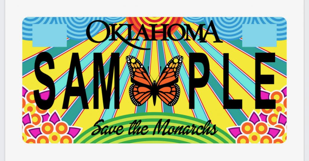The Nature Conservancy is creating a new specialty license plate featuring the Monarch butterfly. Rick Sinnett, a Mustang artist, submitted one of the final designs. (Provided image)