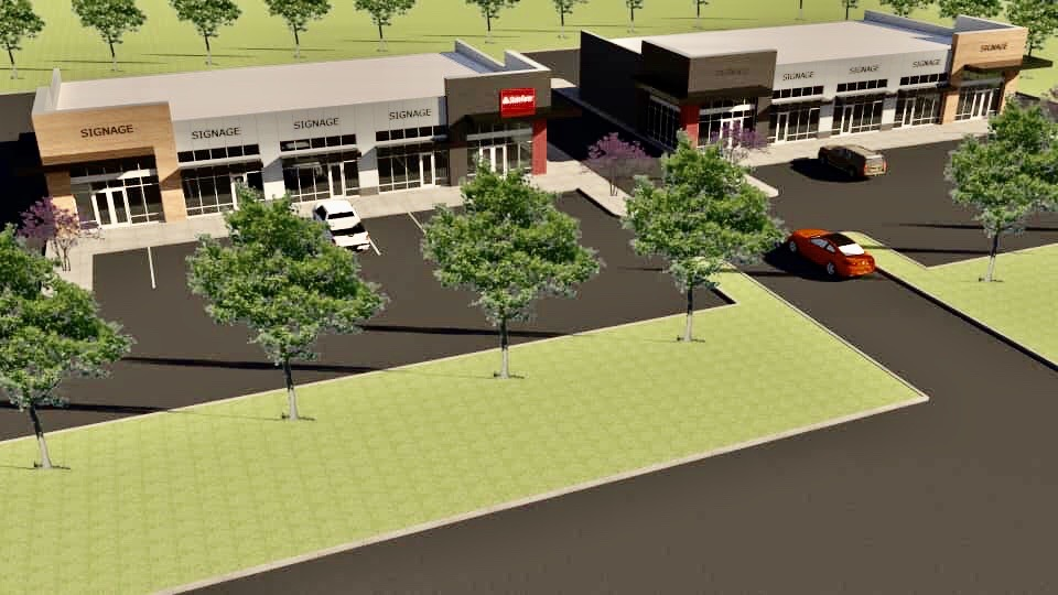 A rendering showing how the proposed two-phase retail development at the intersection of Choctaw Road and SE 15th Street should look. (Image provided by Bobby Lewis State Farm)