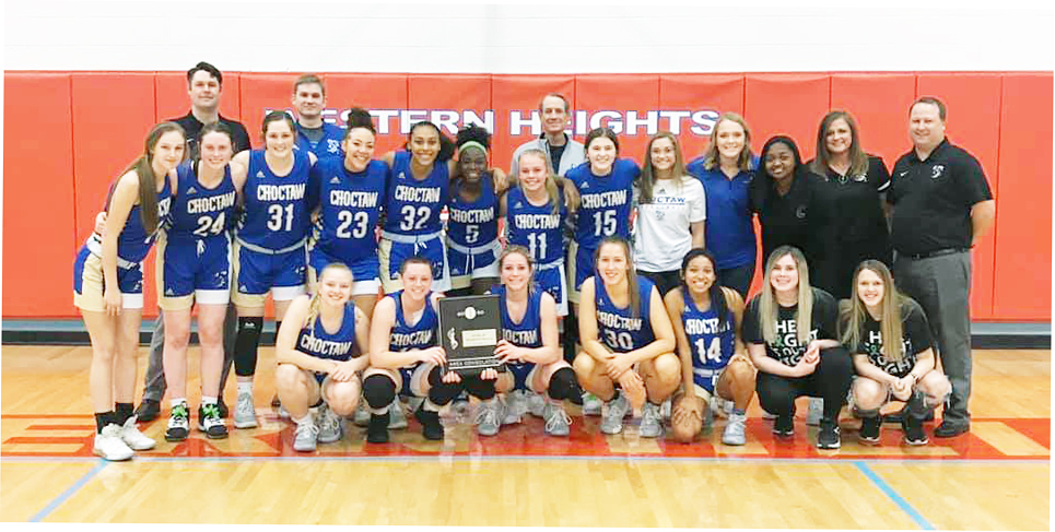 """Choctaw celebrates securing their spot among Class 6A's """"Elite Eight."""" Choctaw opens the state tournament Thursday vs. Union."""