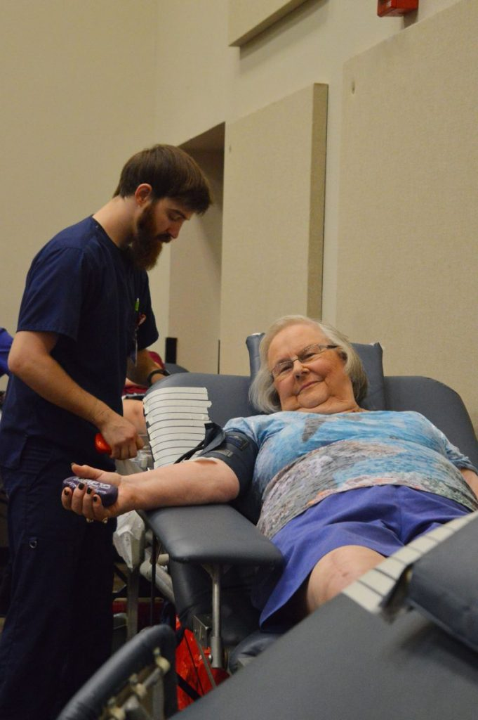 Oklahoma Blood Institute personnel help individuals give blood during a past Mustang drive. COVID-19 has adversely impacted blood supplies across the state, something that must be remedied to protect patients' health, officials say. (File photo)