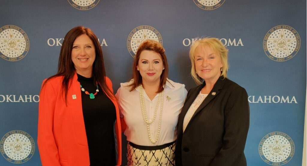 Rep. Cindy Roe, Lecye Doolen Lippoldt, Sen. Brenda Stanley at the state Capitol. (Provided photo)
