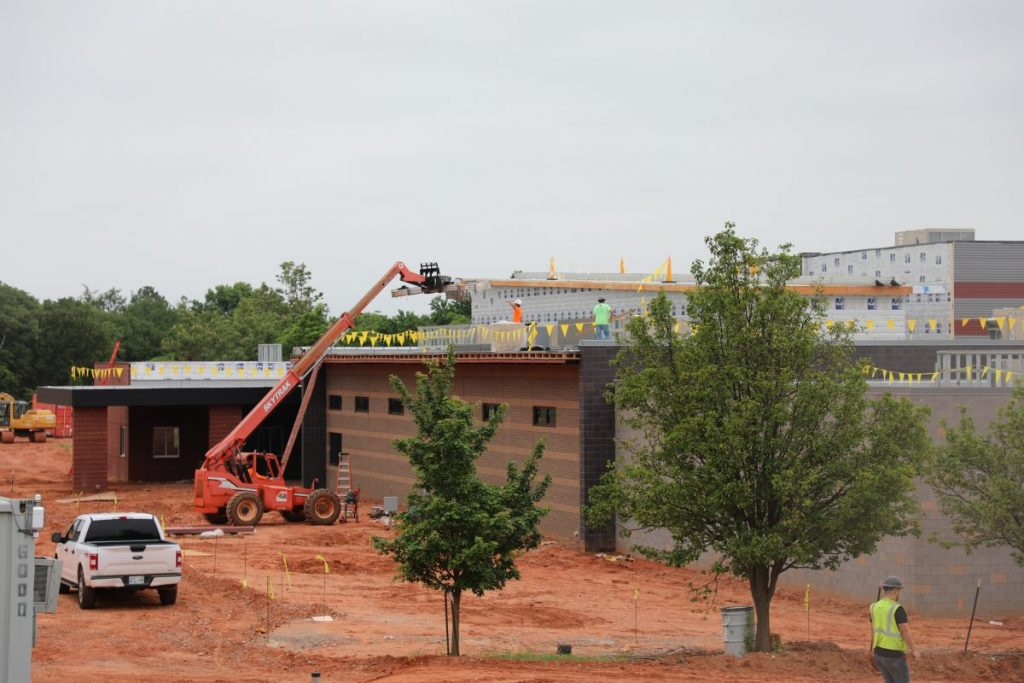 Construction crews work on a $9 million classroom addition at Schwartz Elementary School.  (Photo by Jeff Harrison)