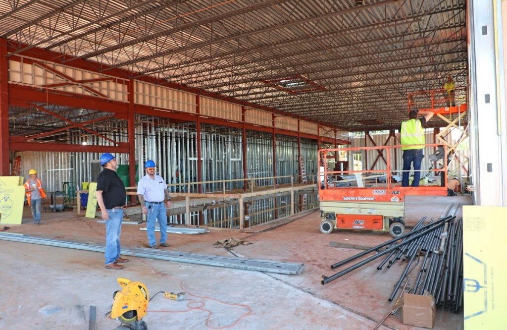 Del City Mayor Floyd Eason and interim City Manager Mike Cantrell tour construction of the new library at 4330 SE 15th Street. The 15,000-square-foot building is expected to be complete by the end of the year. The new library is slated to open in spring 2021. (Photo by Jeff Harrison)