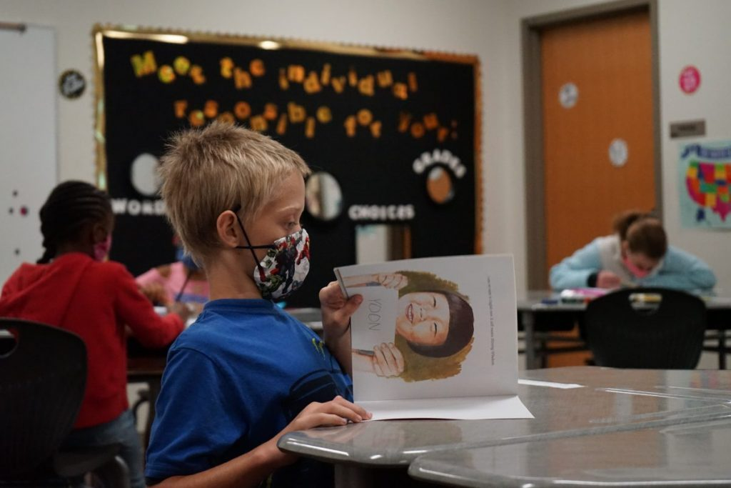 A student reads during summer school classes at Mid-Del Schools. (Photo by Stacey Boyer)