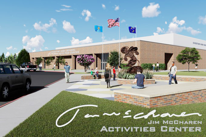 A rendering of how the Jim McCharen Activities Center at Choctaw High School should look. Signage will feature his signature and block letter to be easily read. (IMAGE PROVIDED)