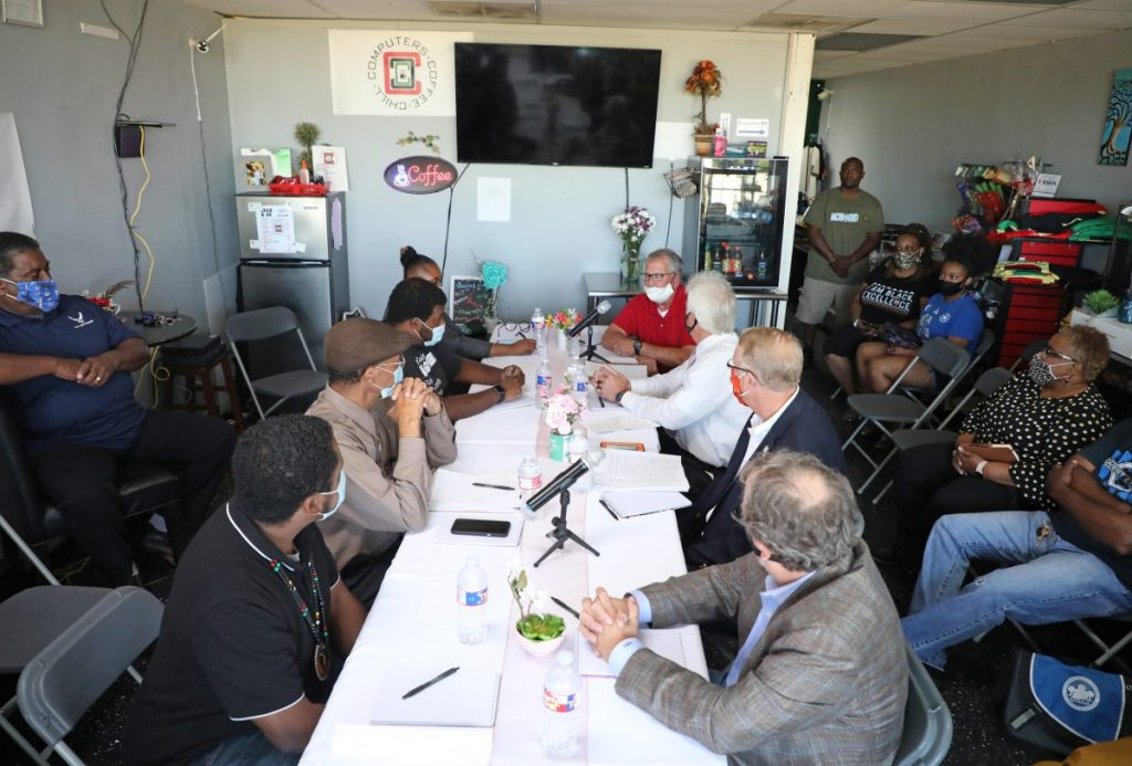 Midwest City officials and members of the Black community talk about racial issues last Wednesday during a panel discussion at Computers, Coffee and Chill in Midwest City. (Photo by Jeff Harrison)