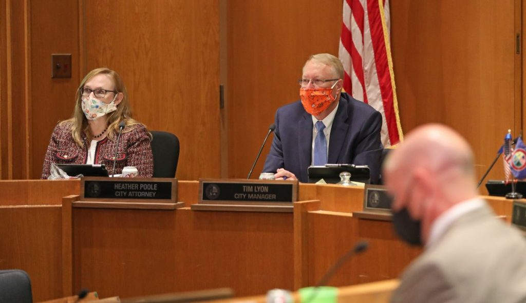 Midwest City Manager Tim Lyon speaks about a public mask ordinance during a July 28 city council meeting. (Staff photo by Jeff Harrison)