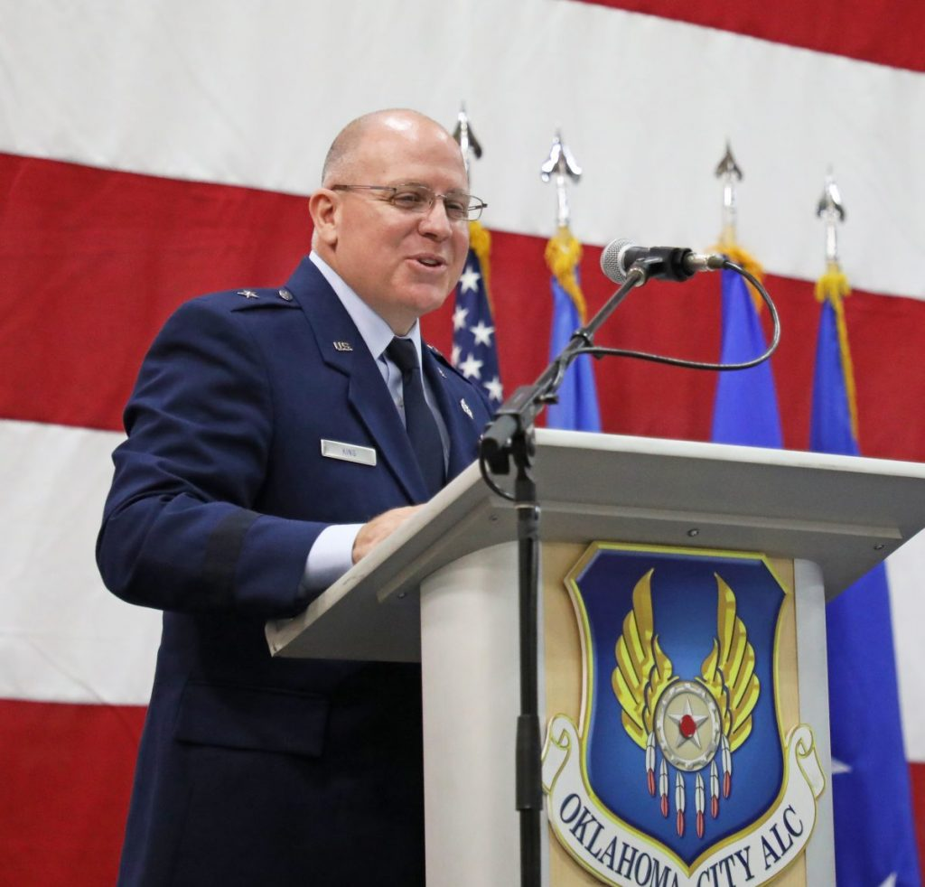 Brig. Gen. Jeff King speaks during a change of commander ceremony July 1 at Building 9001 at Tinker Air Force Base. (Photo by Jeff Harrison)