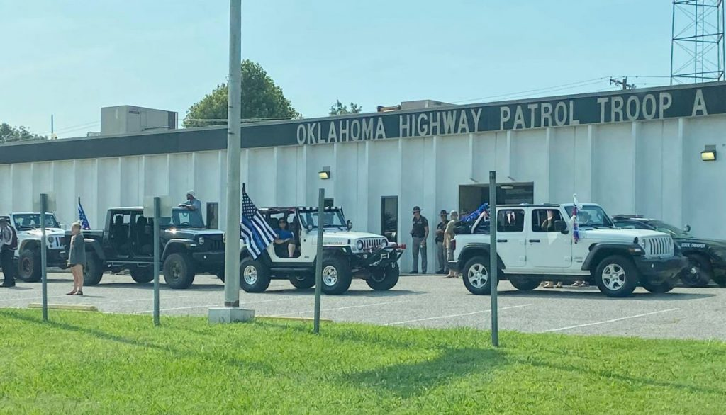 About 140 Jeeps came by Oklahoma Highway Patrol Troop A Saturday as one of the stops on the Back the Blue rally.