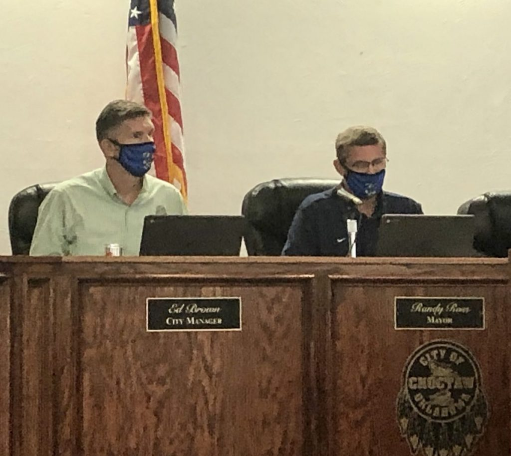 Choctaw City Manager Ed Brown and Mayor Randy Ross partake in the Aug. 6 special meeting to put a citywide mask mandate in place. The mandate passed 4-3 and will be in effect 30 days after approval until at least Oct. 6. (PHOTO BY RYAN HORTON)