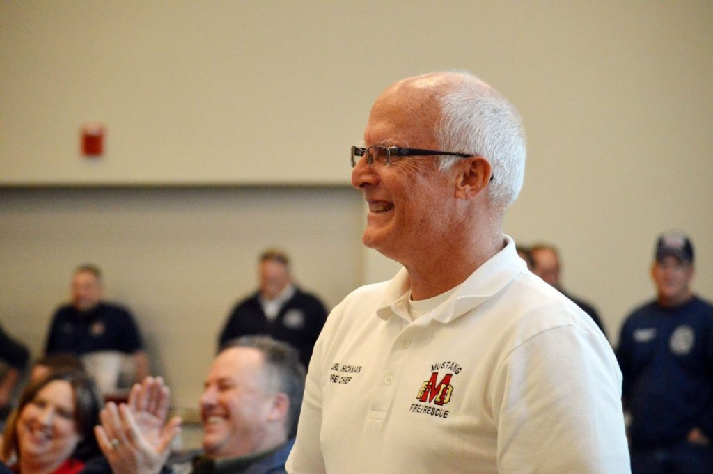 Former Mustang Fire Chief Carl Hickman, pictured here during his 2017 retirement party, has been named State Fire Marshal, a position he's held on an interim basis since October 2019. (File photo)