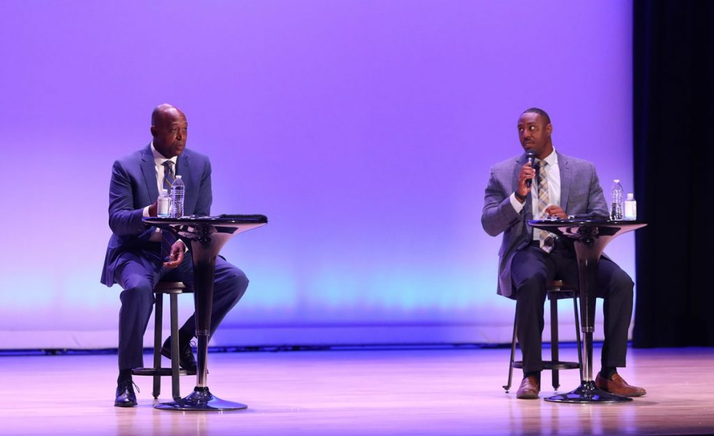 Candidates for Oklahoma County Sheriff meet in a debate at The Auditorium at The Douglass on Oct. 22. The event was hosted by Non-Doc and News 9. (Photo by Jeff Harrison)