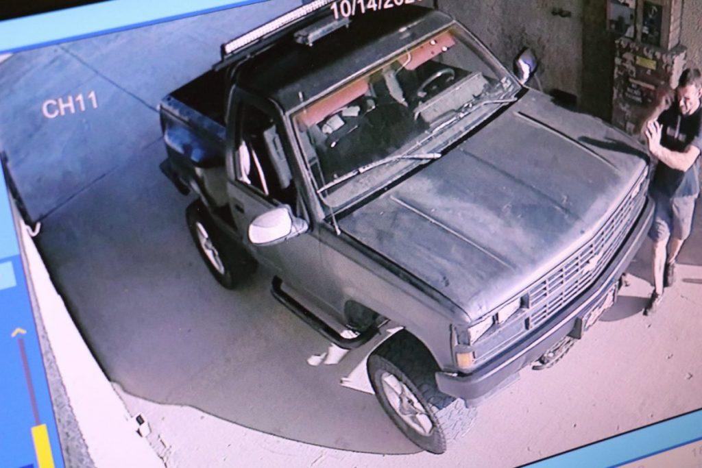 Video surveillance footage of an alleged suspect and vehicles police believe could be connected with two larcenies at an area car wash, one in October and one in November. (Photo Provided)