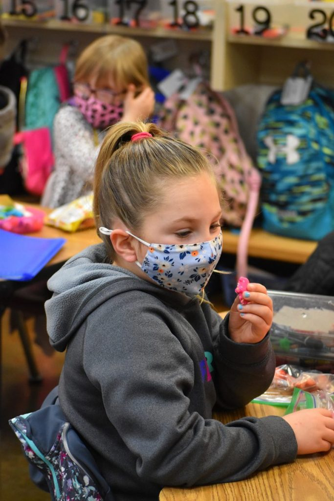 Students in Peyton Jackson's class at Centennial Elementary School have adjusted to social distancing and wearing masks in classrooms conducted differently in ways due to COVID-19. (Photo by Traci Chapman)