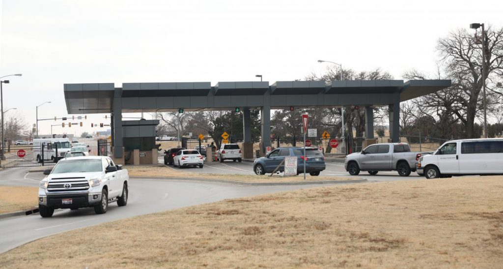 Motorists pass through the Tinker Gate at Tinker Air Force Base earlier this month. Officials said the main gate will close beginning Jan. 28 for a nearly yearlong construction project to improve security at the base's main gate. PHOTO BY JEFF HARRISON