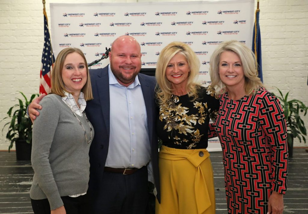 Midwest City Chamber Executive Director Bonnie Cheatwood announced that she plans to retire this year after nearly 20 years in the position. Pictured from left, Christine Martin, past chamber president, Shane Willard, chamber president, Bonnie Cheatwood, and Kimberlee Adams, chamber president-elect. (Photo by Jeff Harrison)