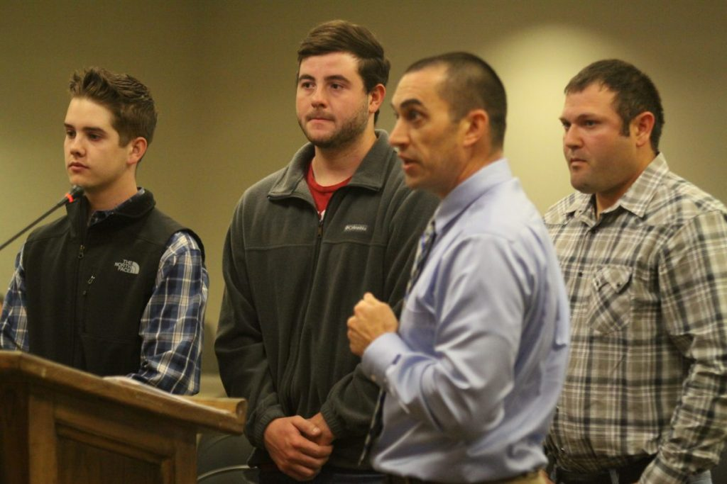 Tuttle Fire Department Chief Ryan Allen (third from left) introduces Cooper Benton, Carson Walker and Bradley Ransome to the City of Tuttle councilmembers at Monday's regularly scheduled council meeting.