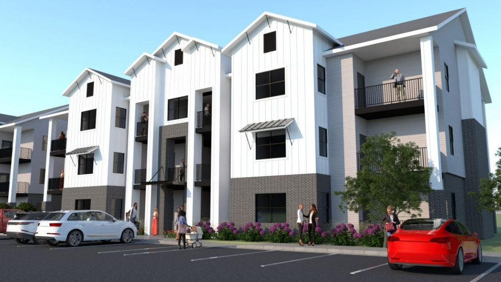 A preliminary design for a proposed apartment complex in the 5900 block of Will Rogers Rd. (Image provided)