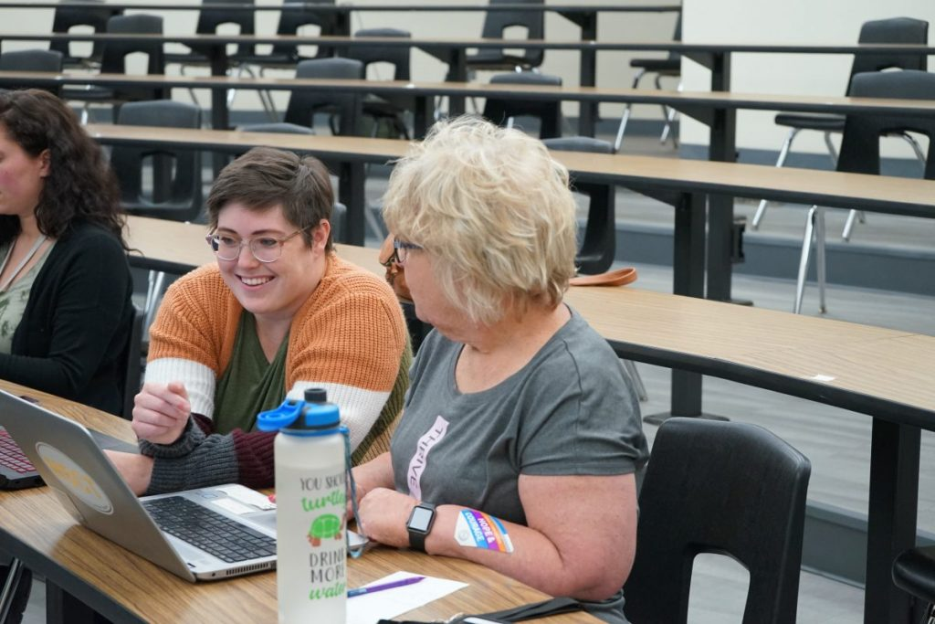 Mid-Del teachers participate in the district's Toolbox Tuesday workshop. The paid training program offers teachers the opportunity to improve their skills during the summer months. (Photo by Stacey Boyer)