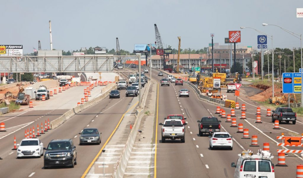 Motorists make their way through a construction zone on I-40 in Midwest City. (Photo by Jeff Harrison)