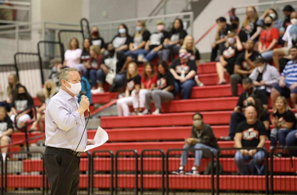 Superintendent Rick Cobb speaks to faculty during the school district's convocation last month. (Photo by Jeff Harrison)