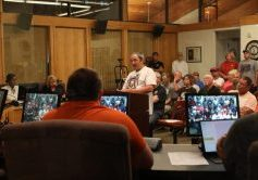Jeremy Thomas shares his plans to build a motocross track in Del City during a city council meeting last week. (Photo by Jeff Harrison)