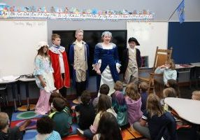 Students present stories during their living history museum project May 13 at Schwartz Elementary. Students researched historical figures from the American Revolution and presented their stories while dressed in costume. (Photo by Jeff Harrison)